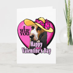 Basset Hound Valentines Day Gifts card