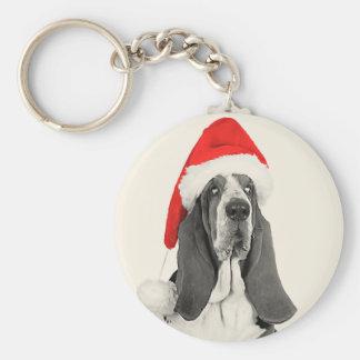 Basset Hound Vintage Style Christmas Keychain