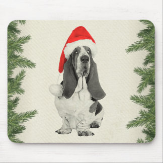 Basset Hound Vintage Style Christmas Mouse Pad