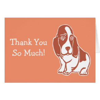 Basset Hound Warm Orange Thank You Card