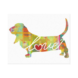 Basset Hound Watercolor Canvas Print