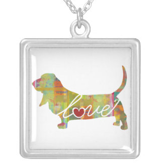 Basset Hound Watercolor Square Pendant Necklace