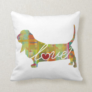 Basset Hound Watercolor Throw Pillow