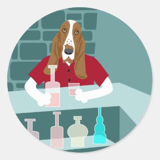 Basset Hound Whiskey Bar Classic Round Sticker