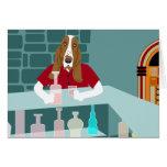 Basset Hound Whiskey Bar Greeting Card