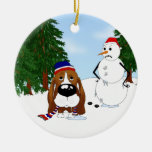Basset Hound Winter Scene Christmas Tree Ornament
