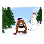 Basset Hound Winter Scene Postcard