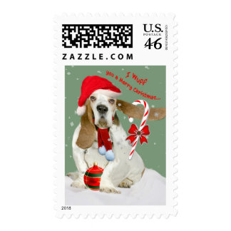 Basset Hound Wish You Merry Christmas Postage