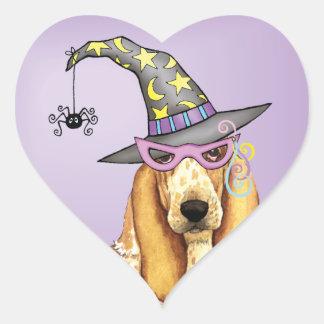 Basset Hound Witch Heart Sticker
