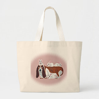 Basset Hound With Bunny Friends Tote Bags