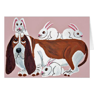 Basset Hound With Bunny Friends Card