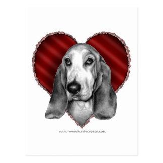 Basset Hound with Heart Postcard