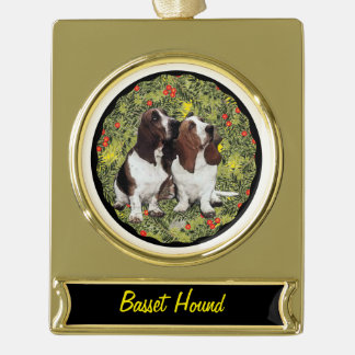 Basset Hound Wreath Gold Plated Banner Ornament