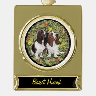 Basset Hound Wreath Gold Plated Banner Ornament