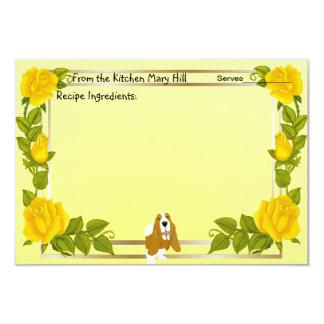"""Basset Hound y rosas amarillos Invitación 3.5"""" X 5"""""""
