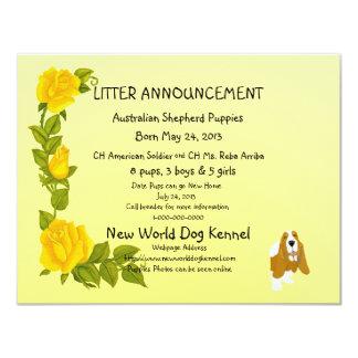 """Basset Hound y rosas amarillos Invitación 4.25"""" X 5.5"""""""