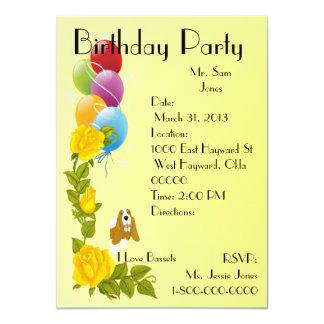 """Basset Hound y rosas amarillos Invitación 4.5"""" X 6.25"""""""