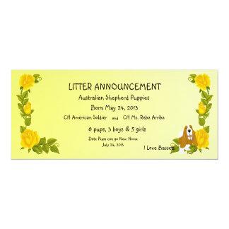 """Basset Hound y rosas amarillos Invitación 4"""" X 9.25"""""""