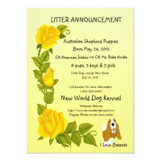 """Basset Hound y rosas amarillos Invitación 5.5"""" X 7.5"""""""