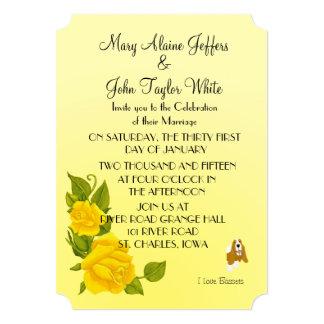 """Basset Hound y rosas amarillos Invitación 5"""" X 7"""""""