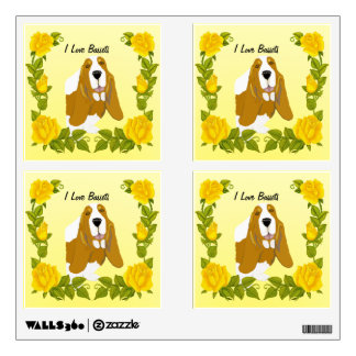 Basset Hound y rosas amarillos Vinilo