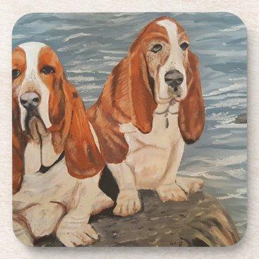 Beach Themed basset hounds coaster