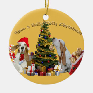 Basset Hounds Have Holly Jolly Christmas Ceramic Ornament