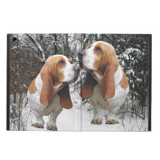 Basset Hounds in the Snowy Woods iPad Air Covers