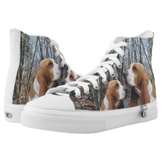 Basset Hounds in the Woods High-Top Sneakers