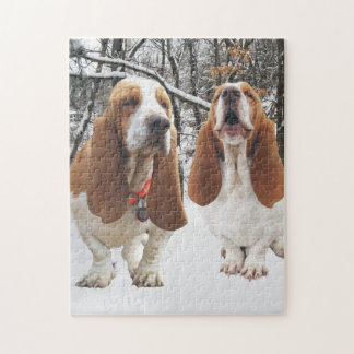 Basset Hounds in the Woods Jigsaw Puzzle