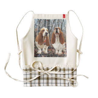 Basset Hounds in the Woods Zazzle HEART Apron