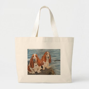 Beach Themed basset hounds large tote bag