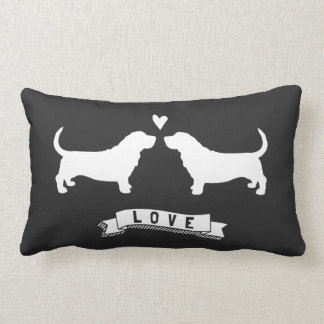 Basset Hounds Love - Dog Silhouettes w/ Heart Lumbar Pillow