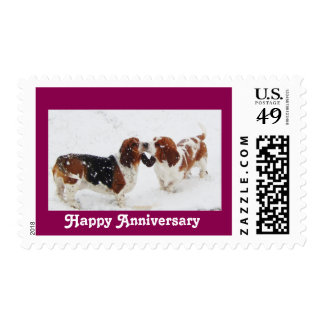 "Basset Hounds on anniversary ""U.S. postage stamp"""