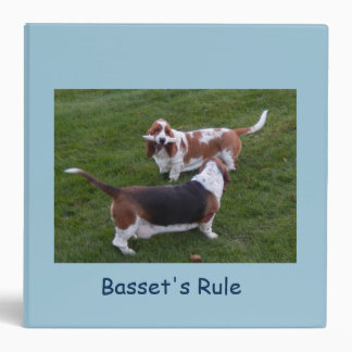Basset Hounds on cover of ring binder. Binder