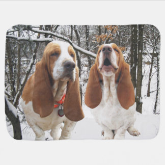Basset Hounds Snow Woods Baby Blanket