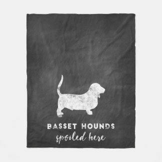 Basset Hounds Spoiled Here Vintage Chalkboard Fleece Blanket