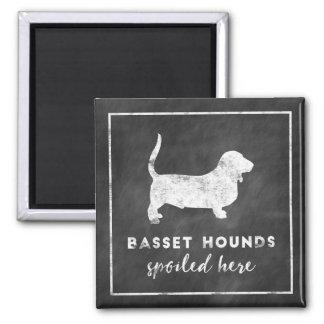 Basset Hounds Spoiled Here Vintage Chalkboard Magnet