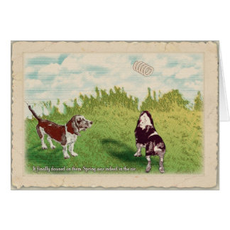 Basset Hounds - Spring in the Air Card