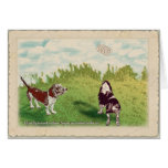 Basset Hounds - Spring in the Air Greeting Card