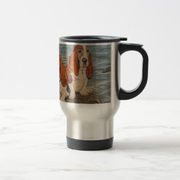 Beach Themed basset hounds travel mug