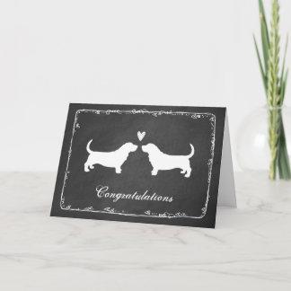 Basset Hounds Wedding Congratulations Card