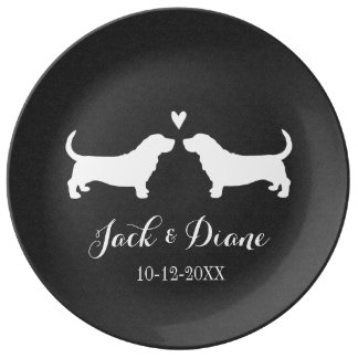 Basset Hounds Wedding Couple with Custom Text Dinner Plate