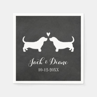 Basset Hounds Wedding Couple with Custom Text Paper Napkin