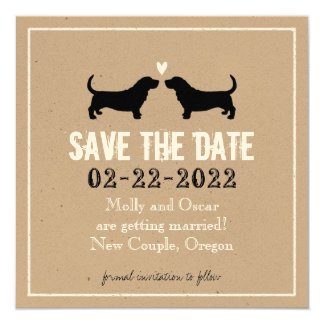Basset Hounds Wedding Save the Date 5.25x5.25 Square Paper Invitation Card