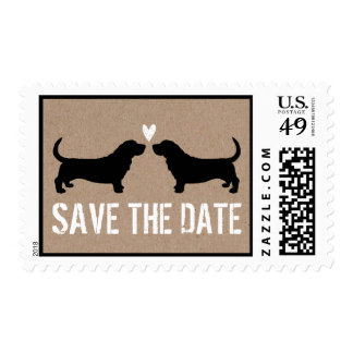 Basset Hounds Wedding Save the Date Postage Stamp