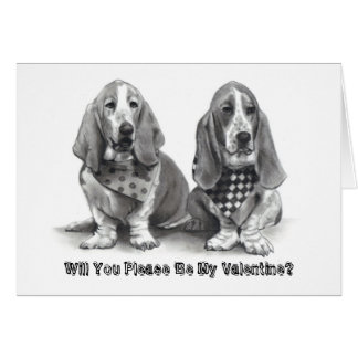 BASSET HOUNDS, Will You Please Be My Valentine? Greeting Cards