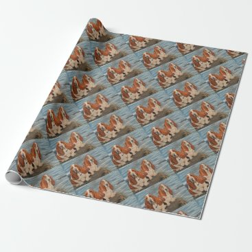Beach Themed basset hounds wrapping paper