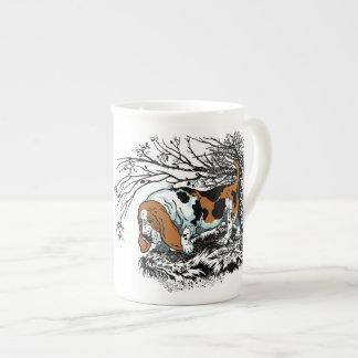 basset illustration tea cup