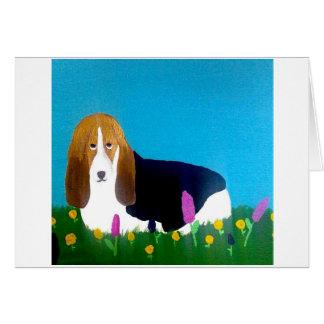 Basset in a field of flowers card